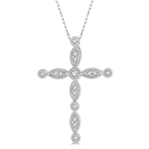 10K white gold diamond cross pendant. Cross necklace. White gold cross. Diamond cross. Diamond cross necklace. Diamonds.