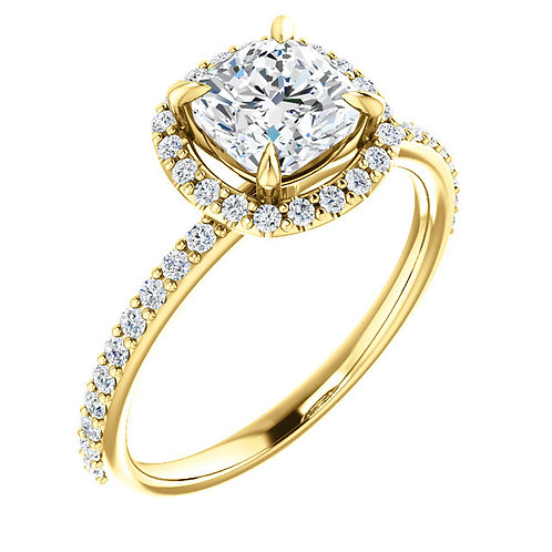 14K Yellow Gold and .25cttw Diamond Halo Engagement Ring with Accented Band
