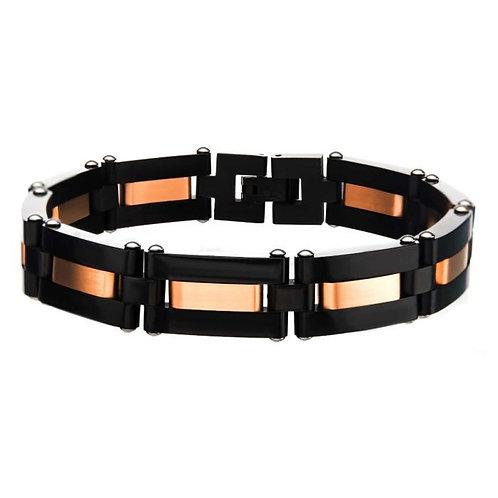 Black stainless steel link bracelet with rose gold plated stripe center. Rose gold link bracelet. Black stainless steel links