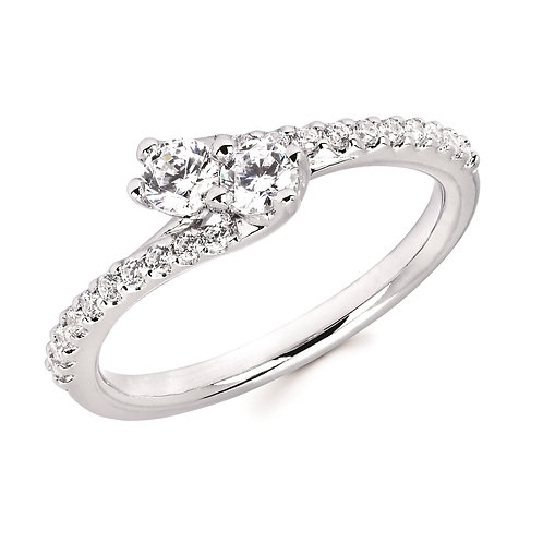 14K white gold two stone ring. Two stone engagement ring. Two stone ring. Forever us ring. 2Us Ring. Side by side ring. White