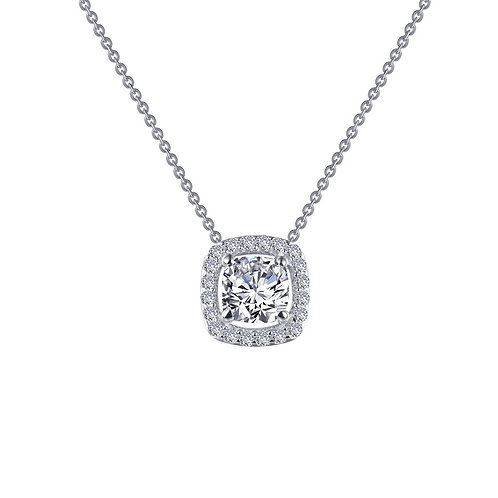 Platinum plated sterling silver pendant with cushion shaped simulated diamond and halo. Sterling silver halo necklace. Halo.