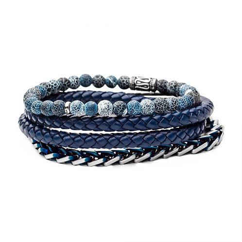 Men's stackable bracelet set with blue plated steel franco bracelet, men's braided blue leather bracelet and blue agate beads