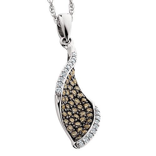 14K white gold pendant with white diamonds and caramel diamonds. Brown diamonds. Cognac diamonds. Chocolate diamonds. Pendant