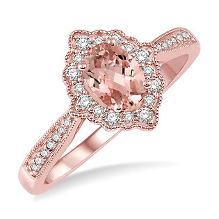 10K Rose Gold, .20cttw Diamond and Oval Morganite Vintage Inspired Ring
