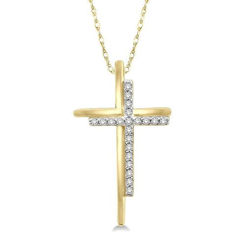 10K yellow gold diamond cross pendant. Double cross pendant. Diamond double cross pendant necklace. Yellow gold cross. Yellow
