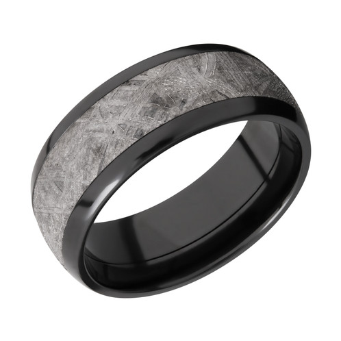 men s polished black zirconium wedding band with gibeon meteorite