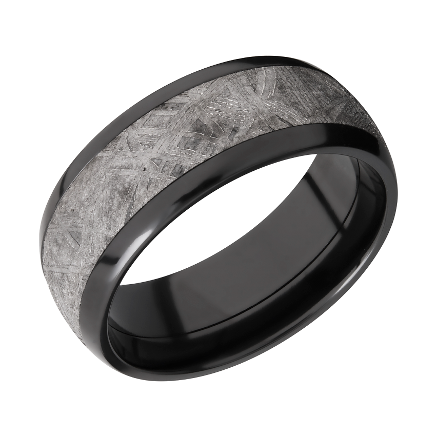 mens black zirconium wedding band with gibeon meteorite inlay mens black wedding band mens mens meteorite ring - Mens Black Wedding Rings