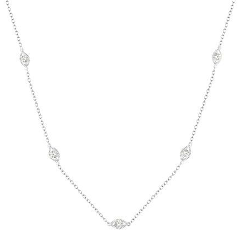 Diamonds by the yard. Diamond station necklace. White gold chain. Marquise diamonds. Marquise vintage settings.
