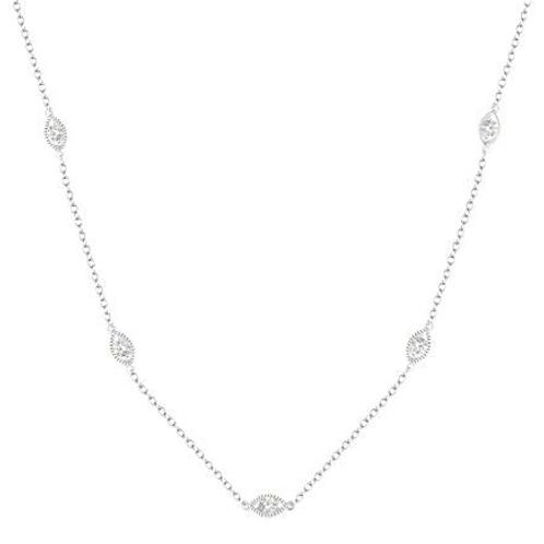 White gold diamond station necklace. Diamonds by the yard necklace. Diamond stations. Vintage style diamond necklace.