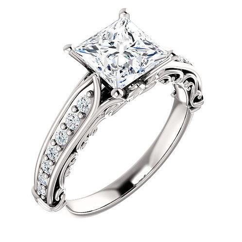 14K white gold diamond engagement ring with princess cut diamond center stone. Square diamond engagement ring. Princess ring.