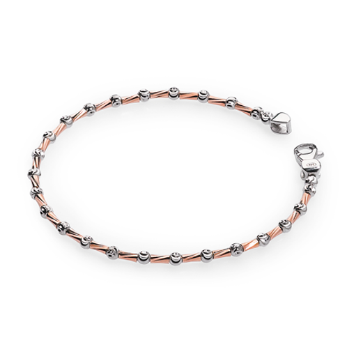 Rose gold plated sterling silver faceted bracelet. Italian. Made in Italy. Italian jewelry. Faceted metal bracelet. Rose gold