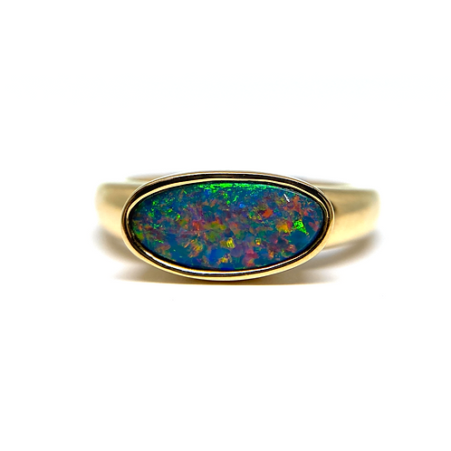 14K yellow gold bezel set Australian opal ring with Australian opal doublet stone. Opal ring. Yellow gold opal ring. Yellow.