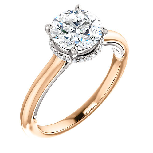14K rose gold diamond engagement ring with diamond collared halo and white gold accent beneath center stone. Two tone ring.