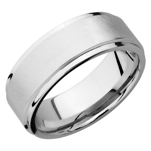 Men's cobalt chrome wedding band with polished edges and angled satin finish. Shimmering finish ring. Men's ring. Cobalt ring