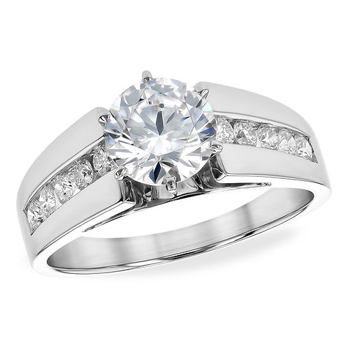 14K white gold channel set diamond accented cathedral style engagement ring. Engagement ring with channel set accent diamonds