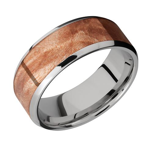 Men's wedding ring with maple burl wood inlay. Wood ring. Men's wood band. Wood inlay ring. Burl inlay ring. Men's burlwood.