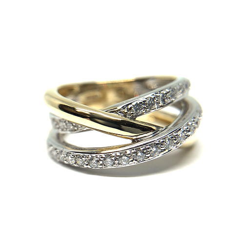 14K yellow gold diamond tangle ring. Two tone diamond tangle ring. Diamond stack ring. Stacked diamond bands. Yellow gold.