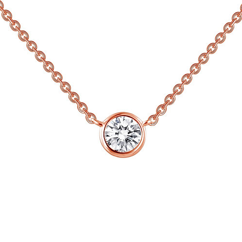 Rose Gold Plated Sterling Silver and 0.46ct Simulated Diamond Bezel Necklace