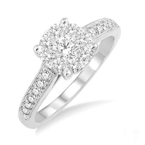 14K white gold diamond engagement ring. White gold cathedral engagement ring. White gold ring. Diamond ring. Diamond cluster.