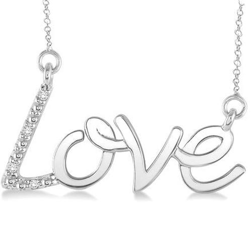 Love necklace. Diamond love necklace. Sterling silver love necklace. Sterling silver and diamond love pendant necklace.