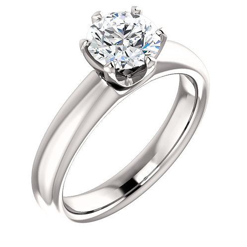 14K white gold solitaire engagement ring with tulip style 6-prong center mounting. Wide white gold solitaire engagement ring.