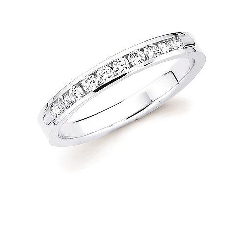 14K white gold diamond anniversary ring. White gold diamond band. White gold anniversary band. Diamond channel ring. White.