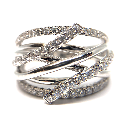14K white gold micro pave diamond tangle anniversary or cocktail ring. Right hand ring. Diamond ring. Diamond band. White.