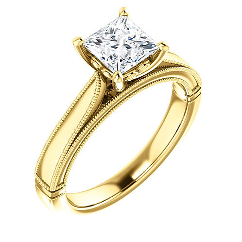 14K yellow gold solitaire engagement ring. 14K yellow gold princess cut diamond engagement ring. Princess cut solitaire ring.