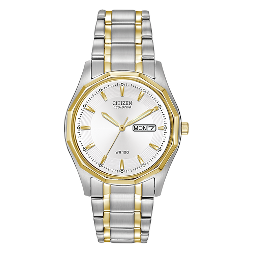 Men's Citizen two tone watch. 2tone. Two-tone. 2-tone. 2 tone. Men's silver and gold watch. Men's Eco-Drive watch. Classic.