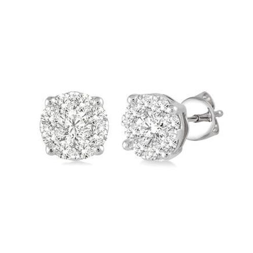 Diamond halo earrings. Diamond cluster earrings. White gold diamond halo earrings. Diamond stud earrings.