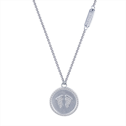 Sterling silver and 62cttw simulated diamond footprints love platinum plated sterling silver footprint pendant with love badge childs footprint footprint aloadofball Choice Image