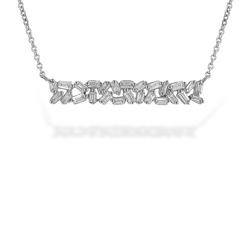 14K white gold scattered baguette pendant necklace with diamonds. Diamond bar necklace. Diamond baguette bar necklace. White.