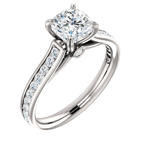 14K white gold diamond engagement ring with channel set diamond accents and peek-a-boo diamond accented gallery. White gold.
