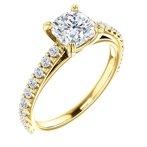 14K yellow gold cathedral engagement ring with diamond accented band. Exposed diamond band. Diamond engagement ring. Yellow.