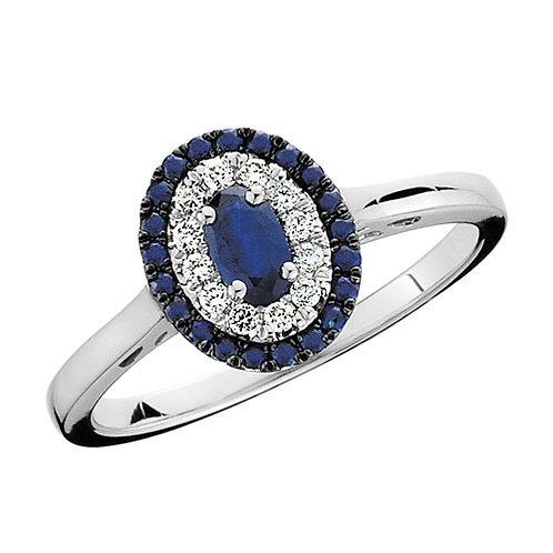 10K white gold ring with diamonds and blue sapphires. Blue sapphire halo ring. Double halo sapphire ring. White gold sapphire