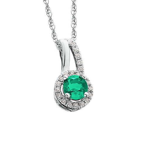 14K White Gold, Emerald and .15cttw Diamond Halo Pendant