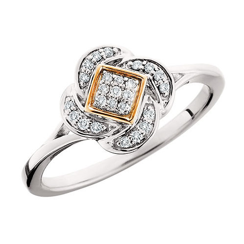 10K white and rose gold ring with Celtic inspired design. Floral design. Two tone ring. Diamond ring. Celtic diamond ring.