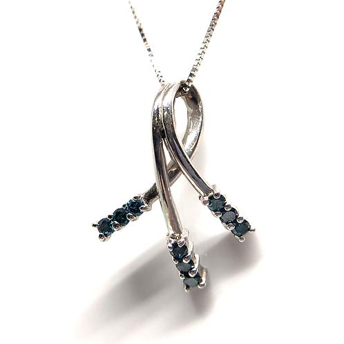 14K white gold and blue diamond pendant. White gold and blue diamond shooting star pendant. Round blue diamond pendant.