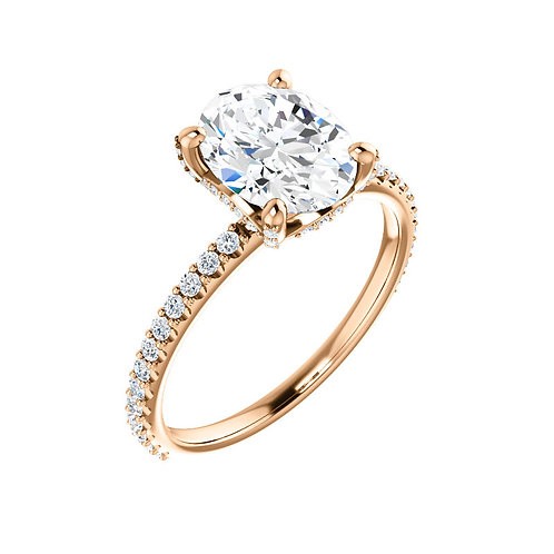 14K rose gold diamond engagement ring with diamond accented band and diamond accented prongs and crown. Rose gold engagement.