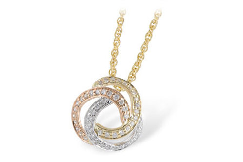 Three tone pendant with white gold yellow gold and rose gold. Diamonds throughout. Celtic knot design. Yellow gold chain.