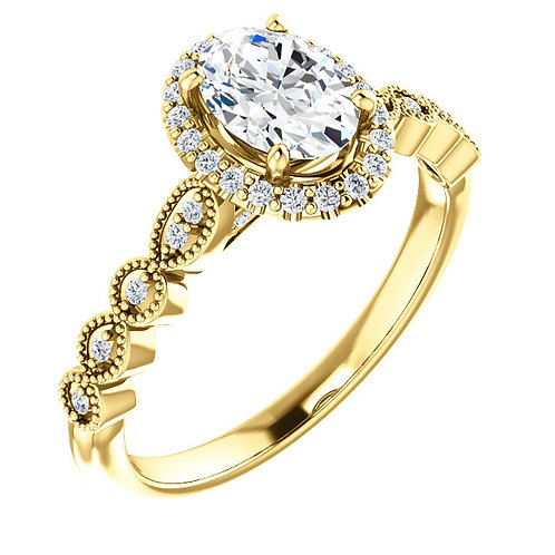 14K yellow gold diamond engagement ring with vintage inspired design and scalloped band. Halo engagement ring. Diamond ring.