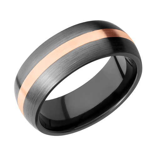 Domed zirconium men's ring with rose gold inlay. Rose gold and black ring. Black men's ring with rose gold inlay. Black ring.