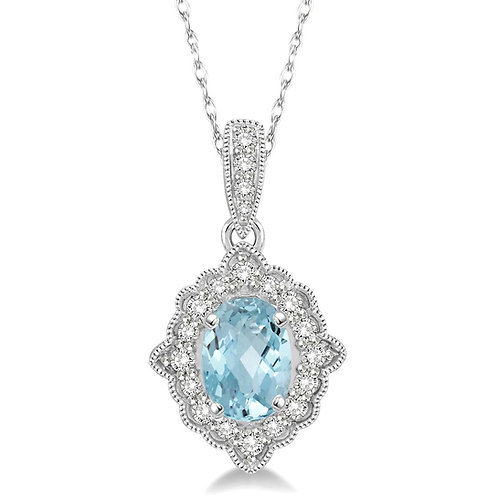 10K white gold diamond and aquamarine pendant. Vintage inspired aquamarine pendant. Antique style aquamarine and diamond.