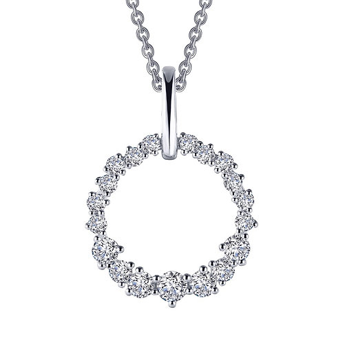 Sterling silver pendant with mixed size round cubic zirconia stones. Lassaire crystals. Swarovski crystals. Crystal circle.