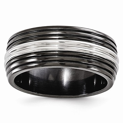 Men's grooved black titanium ring with stainless steel accent. Stainless steel men's wedding band. Titanium men's band. Men's