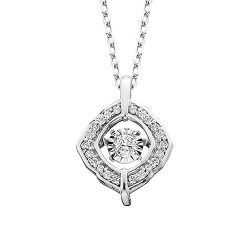 14K white gold cushion shaped pendant with dancing diamond center. Dancing diamond necklace. Diamond accented diamond dancer.