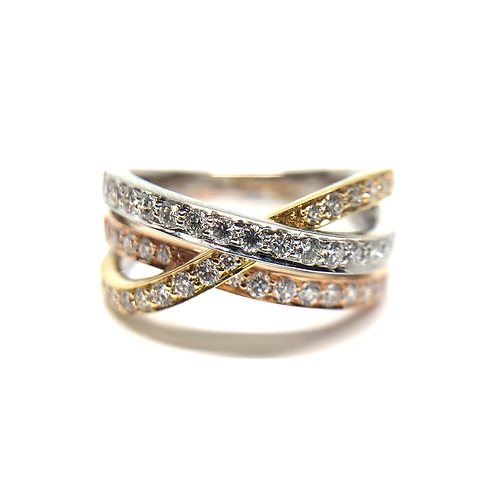 14K white yellow and rose gold diamond triple layer woven band. Braided band. Braided ring. White gold ring with rose gold.