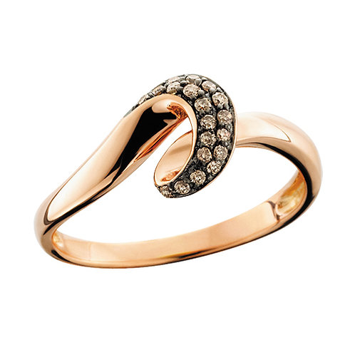 10K rose gold ring with brown champagne cognac diamonds. Twisted wave style ring. Cocktail ring. Rose gold ring. Brown stone
