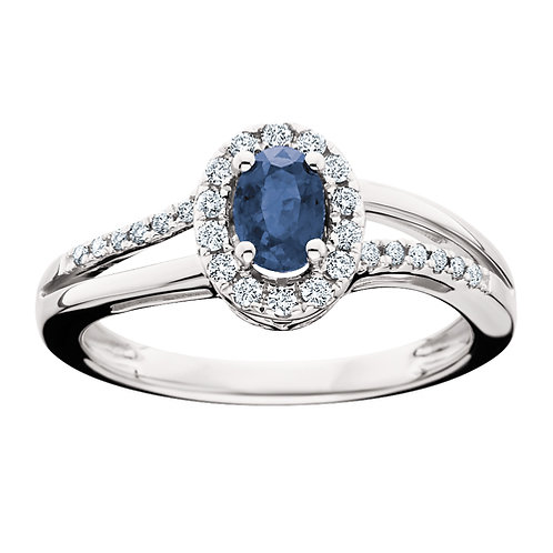 14K white gold blue sapphire and diamond halo bypass ring. September birthstone ring. Birthday gift. Princess Diana ring.