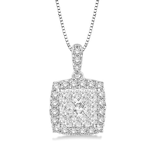 14K white gold diamond pendant with princess cut center stone and diamond halo with diamond bail and white gold chain.